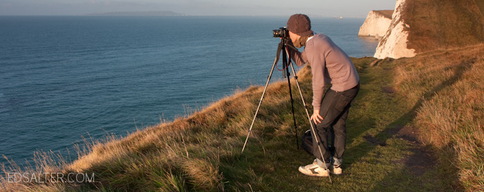 Ed Salter shooting a landscape photograph using a tripod