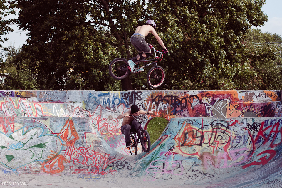 jumping over person bmx