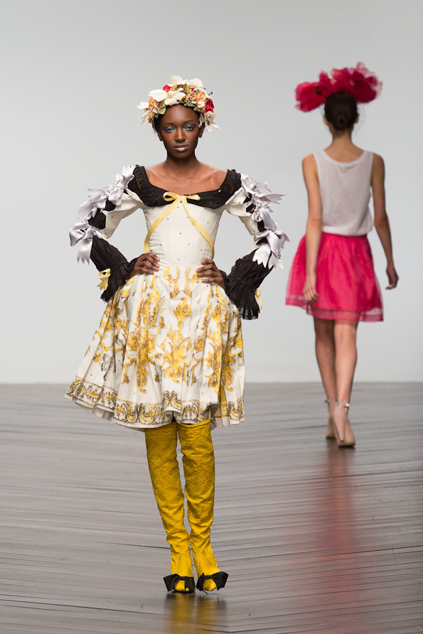 Model on the runway at  London Fashion Weekend 2013, held at Somerset House