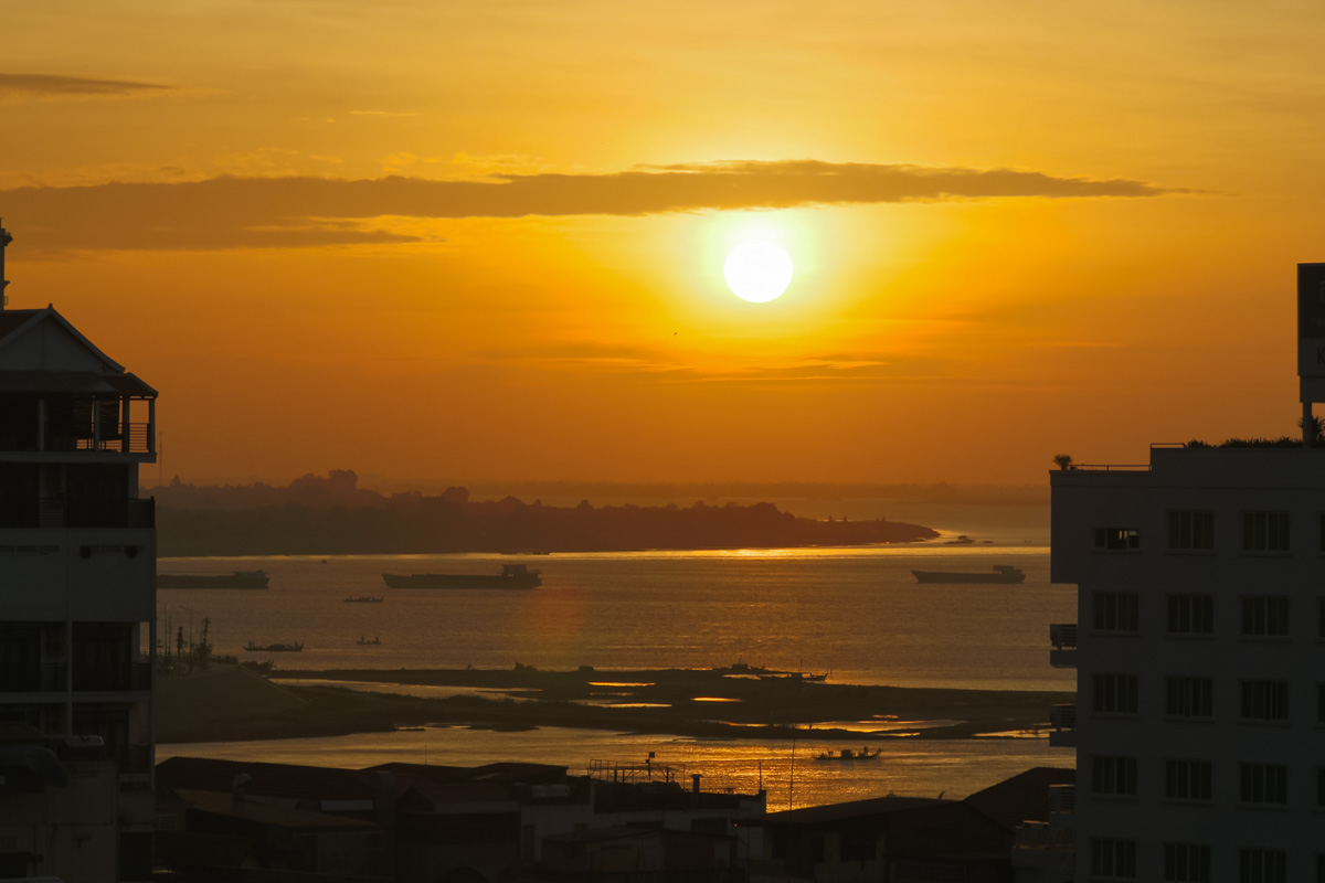 Phnom Penh sunrise from a rooftop