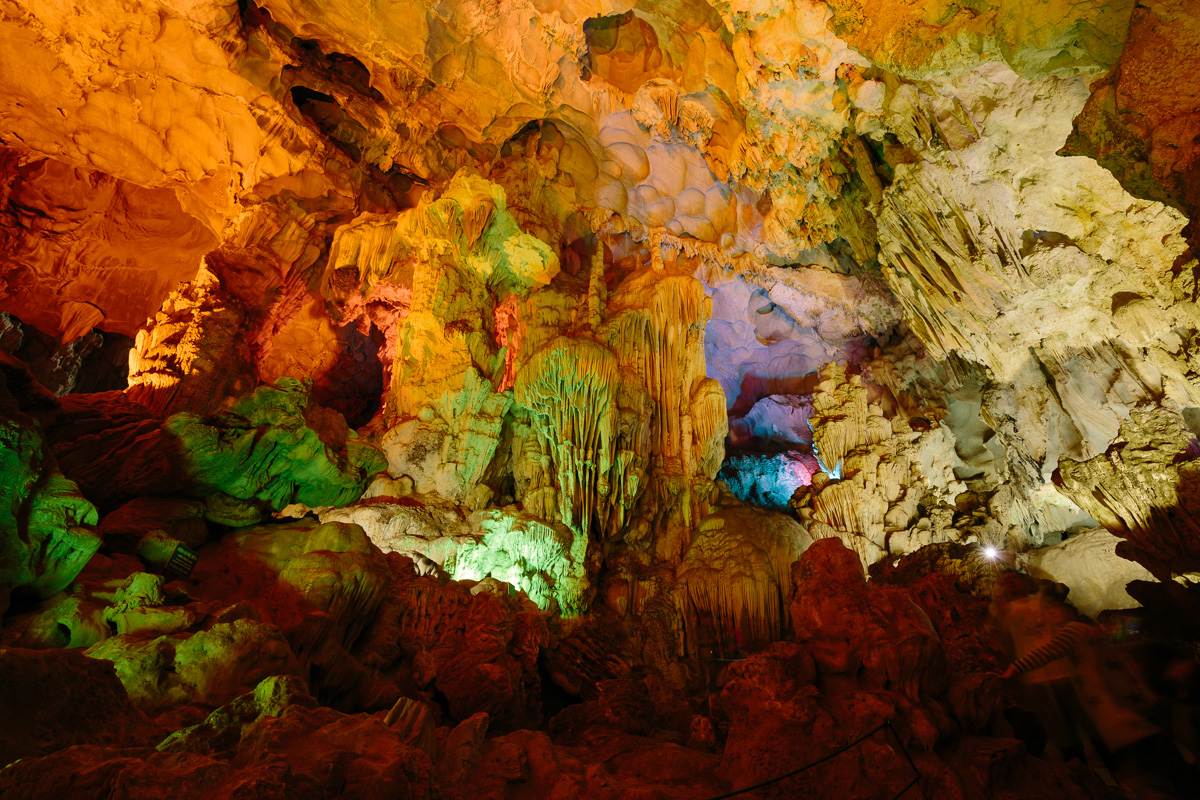 Artifically lit caves in Halong Bay
