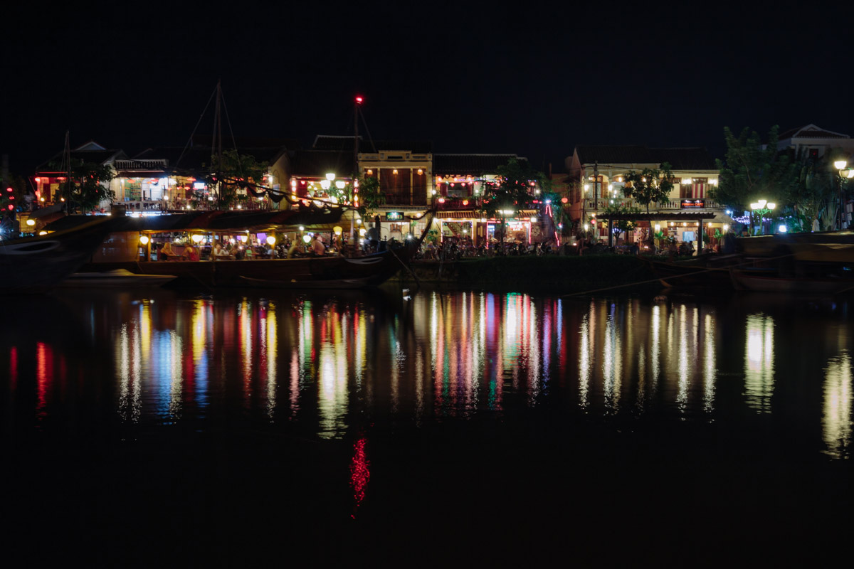 Water front night scenes in Hoi An, Vietnam