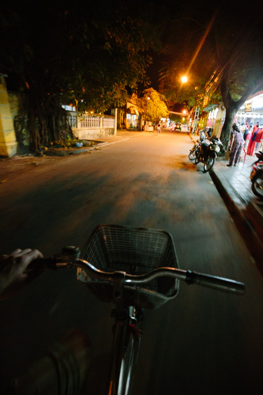 Cycling at night in Hoi An