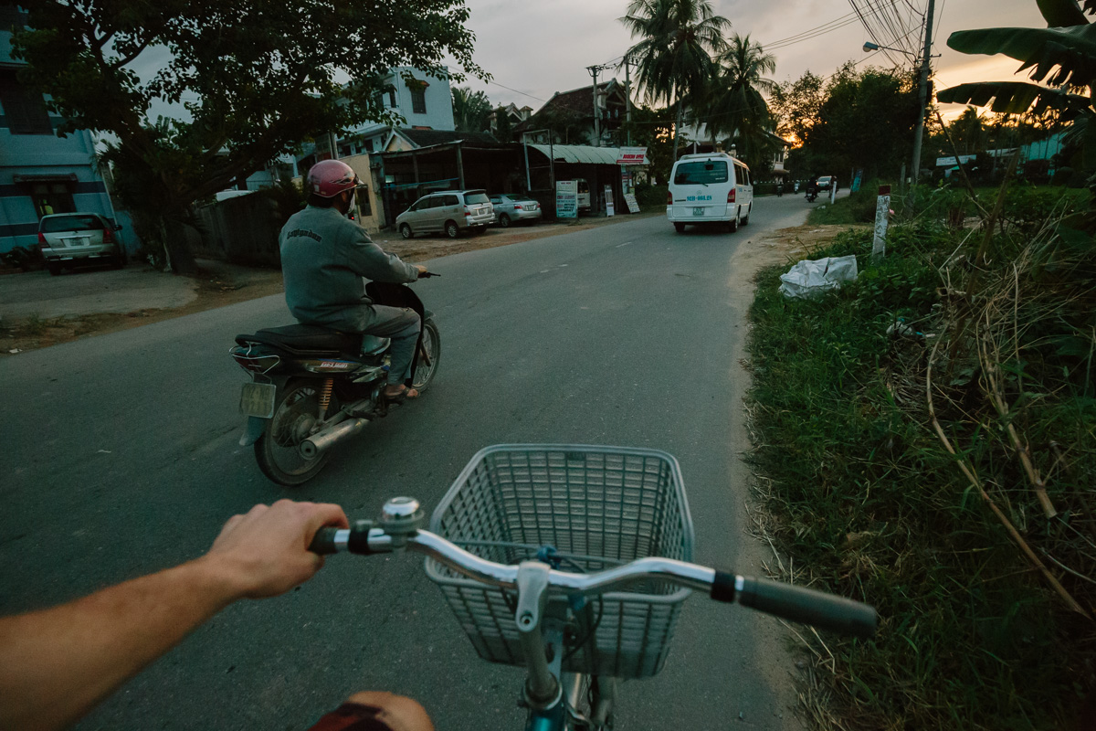 The best way to get around Hoi An is by bike. This was on the way back from the beach at sunset