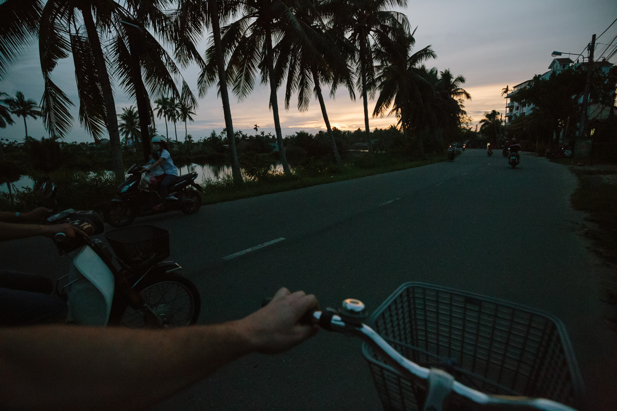Cycling past palm trees