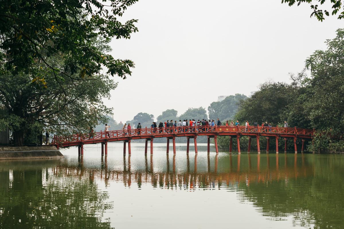 Huc Bridge over Hoan Kiem Lake to Ngoc Son Temple