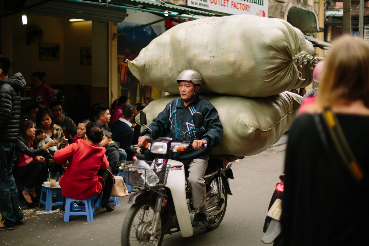 It never got old seeing what the local Vietnamese people could strap to their motorbikes!