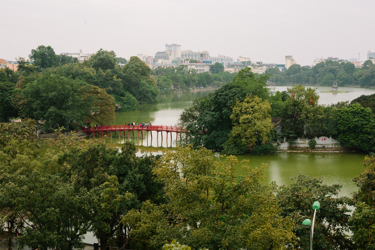View from rooftop bar onto Huc Bridge over Hoan Kiem Lake to Ngoc Son Temple