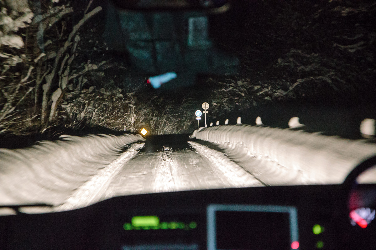Bus journey through the snow at night to Niseko