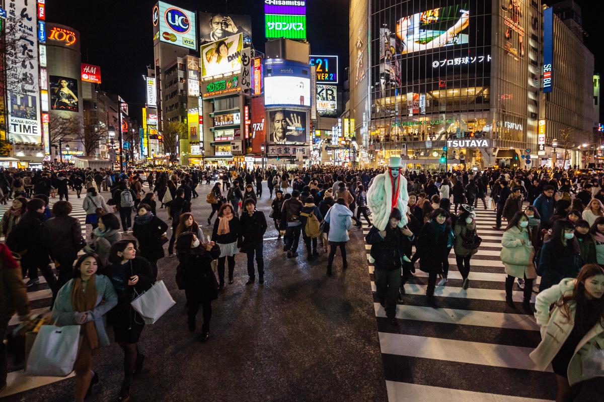 Shibuya Crossing at street level - Tokyo
