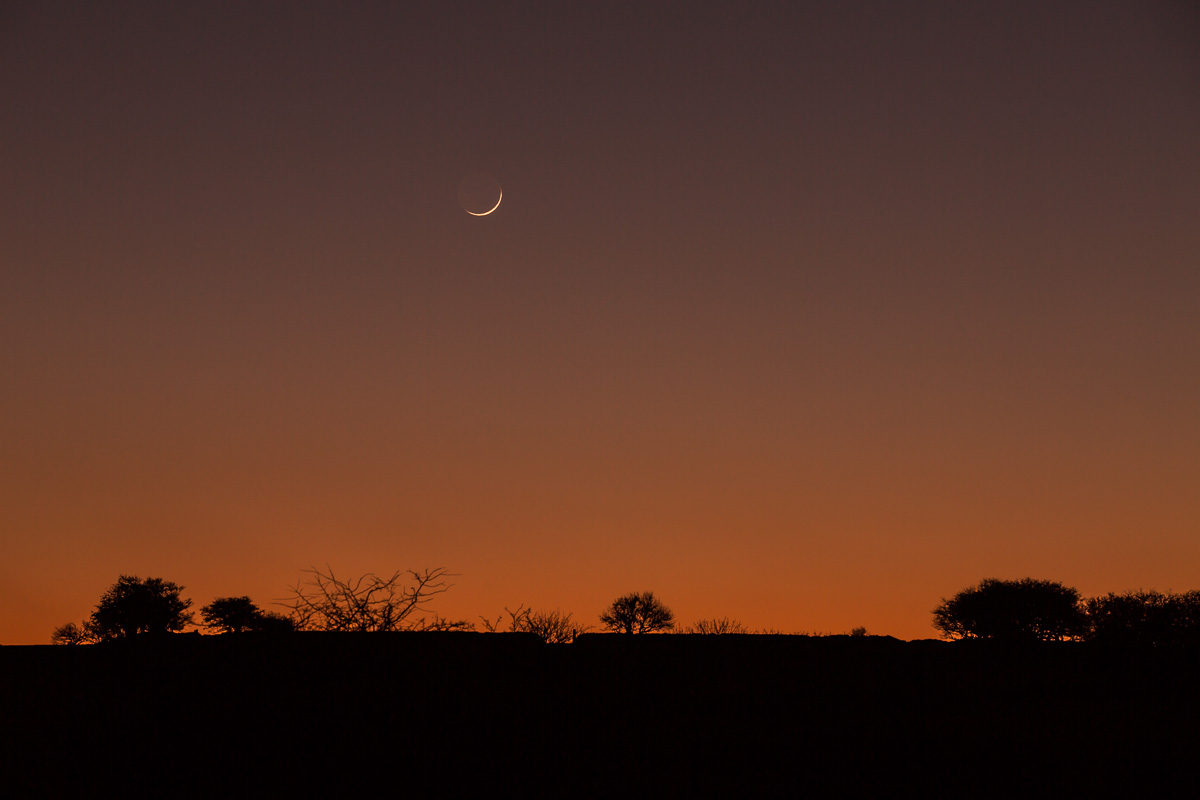 Crescent moon over Bodmin Moor