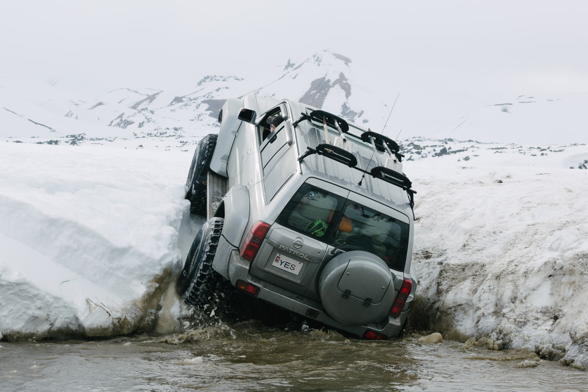 A super jeep attempts to tackle the riverbank. This route wasn't successful in the end....