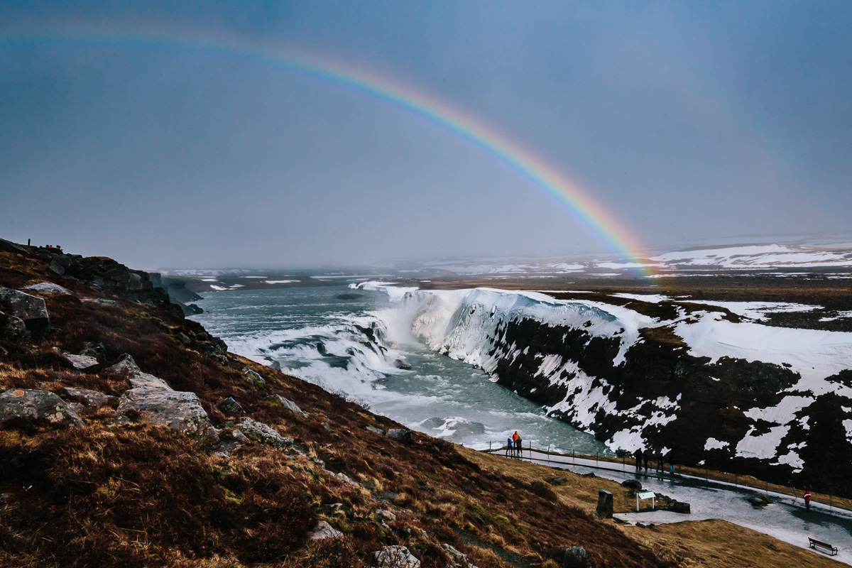 Rainbow over Gullfoss waterfalls
