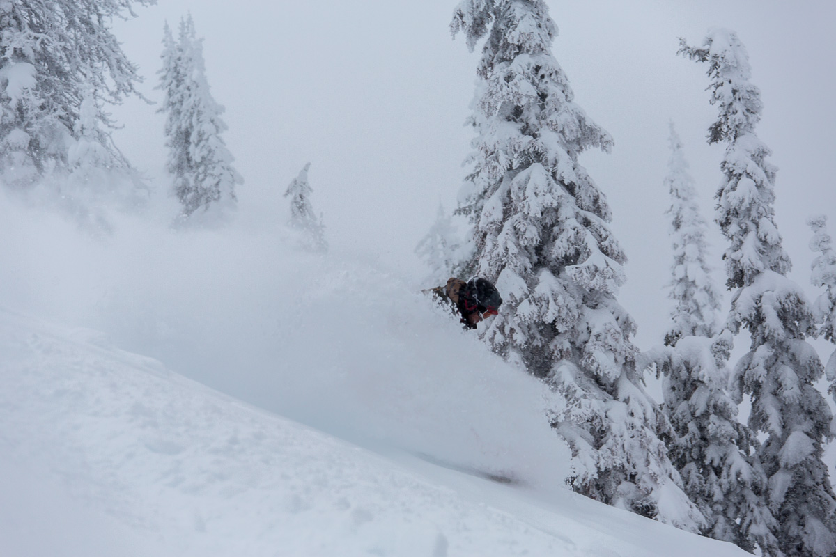 Jim carving through powder at Red